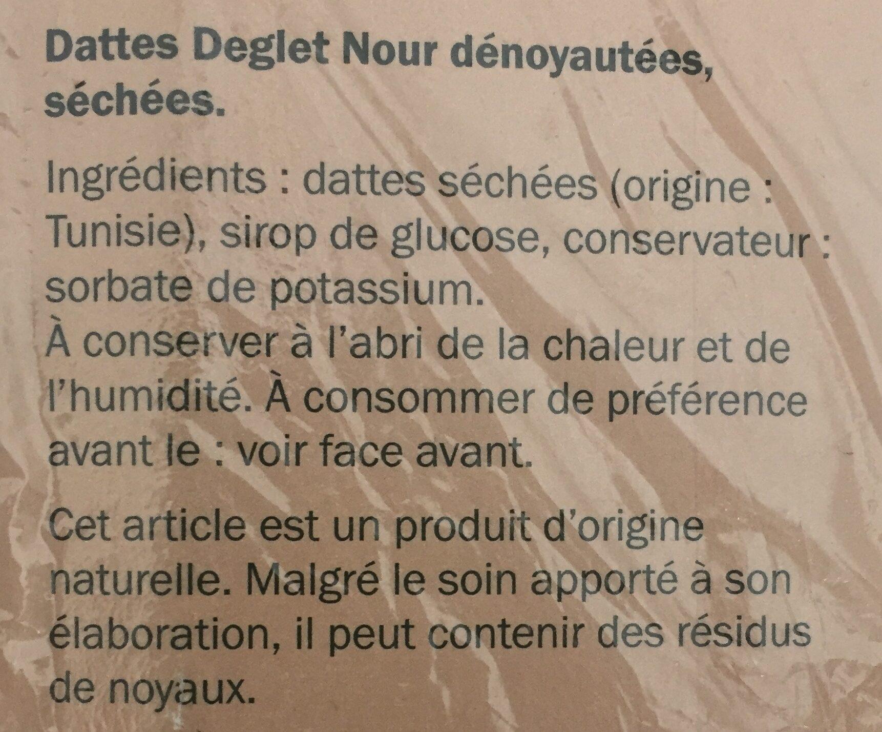 Dattes Deglet Nour dénoyautées, séchées - Ingrédients - fr