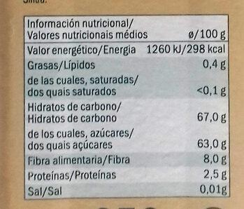 Dátles de Túnez sin hueso - Información nutricional