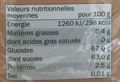 Dattes Deglet Nour dénoyautées, séchées - Informations nutritionnelles - fr