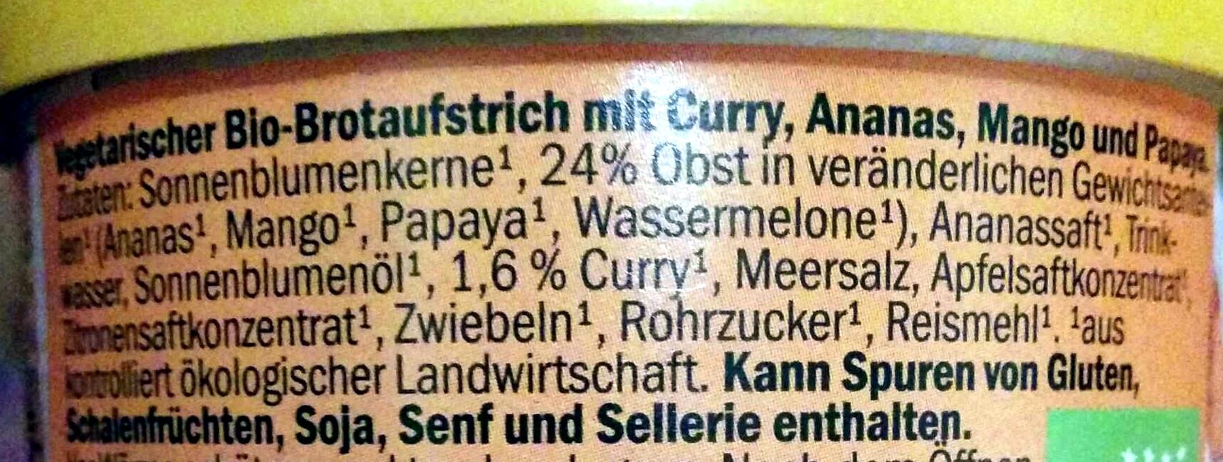 Vegetarischer Brotaufstrich Curry-Tropic - Ingredients