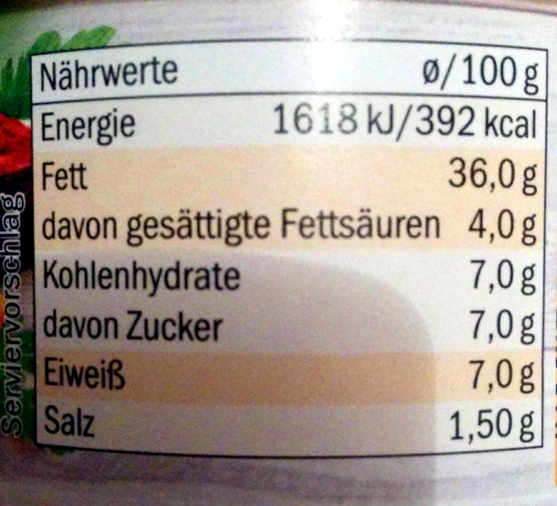 Vegetarischer Brotaufstrich Curry-Tropic - Nutrition facts