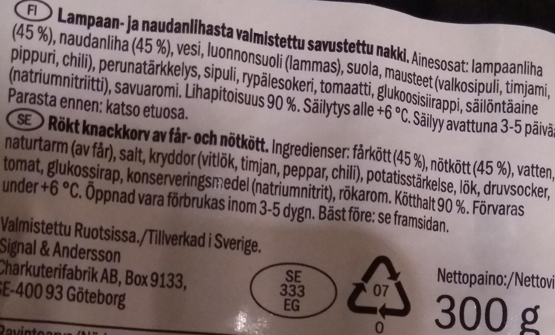 Lammasnakki - Ingrédients - fi