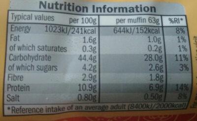 Muffins - Voedingswaarden - en