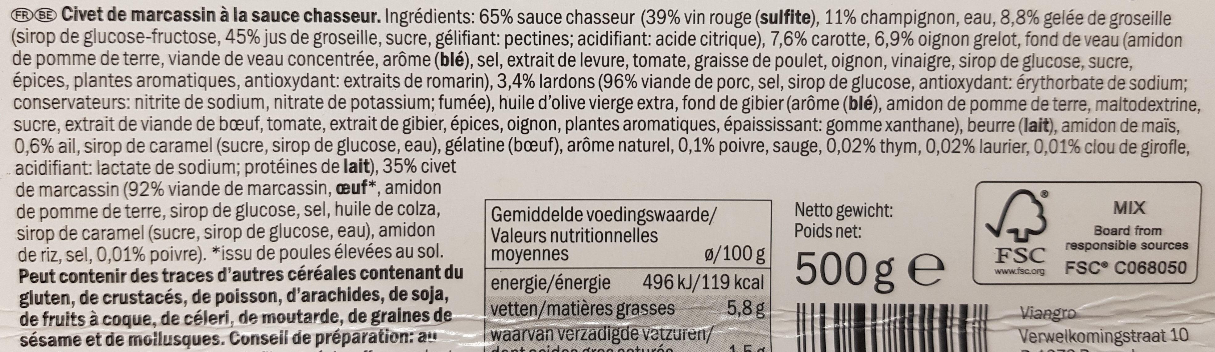 Civet de Marcassin à la sauce chasseur - Ingrediënten - fr