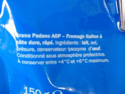 Grana Padano A.O.P râpé - Ingredientes