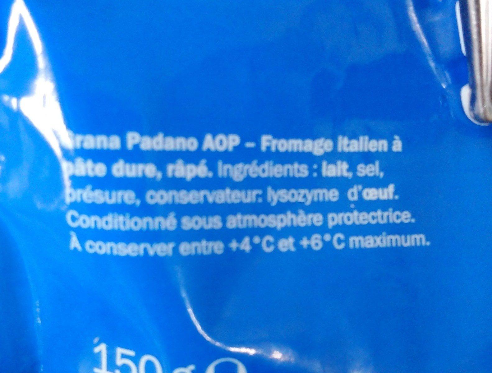 Grana Padano A.O.P râpé - Ingrédients - fr