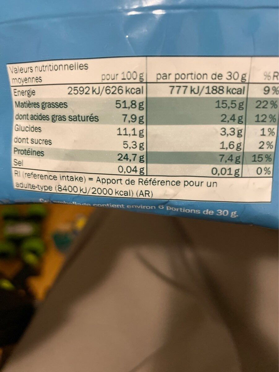 Cacahuètes grillées sans sel ajouté - Nutrition facts - fr