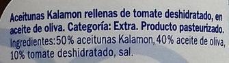Aceitunas Kalamon con tomate deshidratado - Ingredients