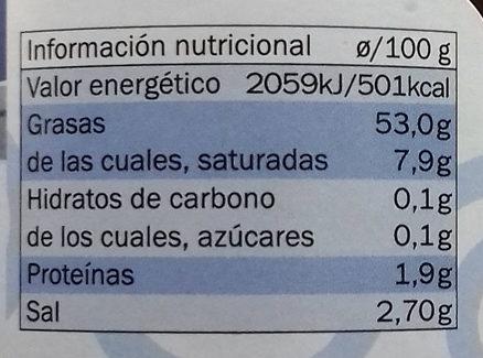 Aceitunas Kalamon con tomate deshidratado - Informació nutricional