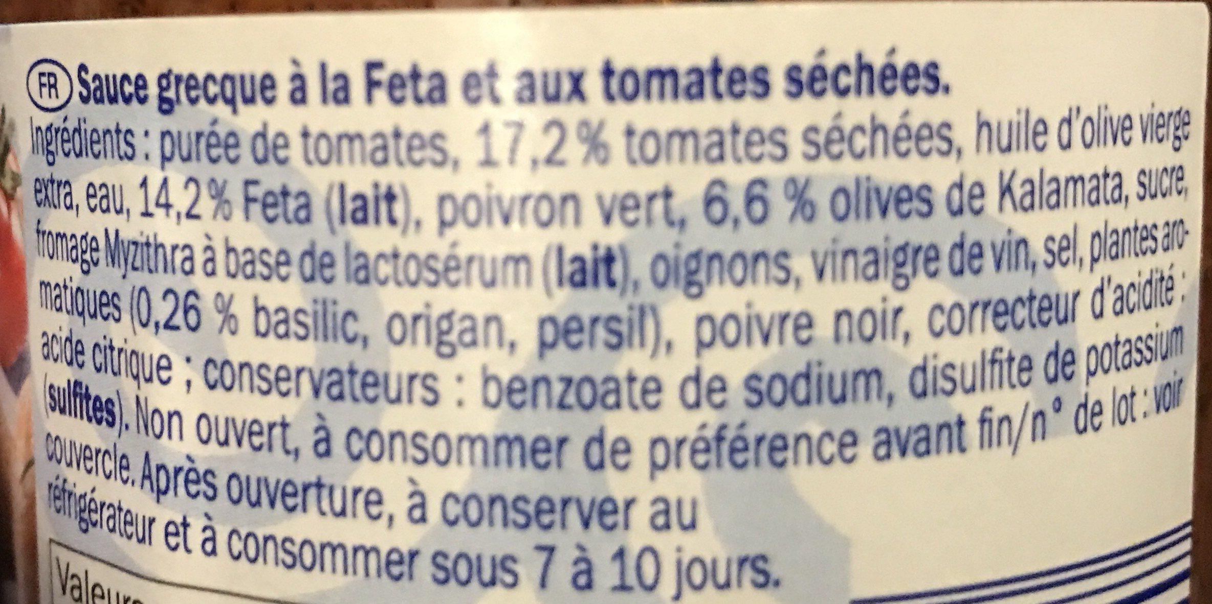 Sauce grecque Feta & tomate séchée - Ingrediënten - fr
