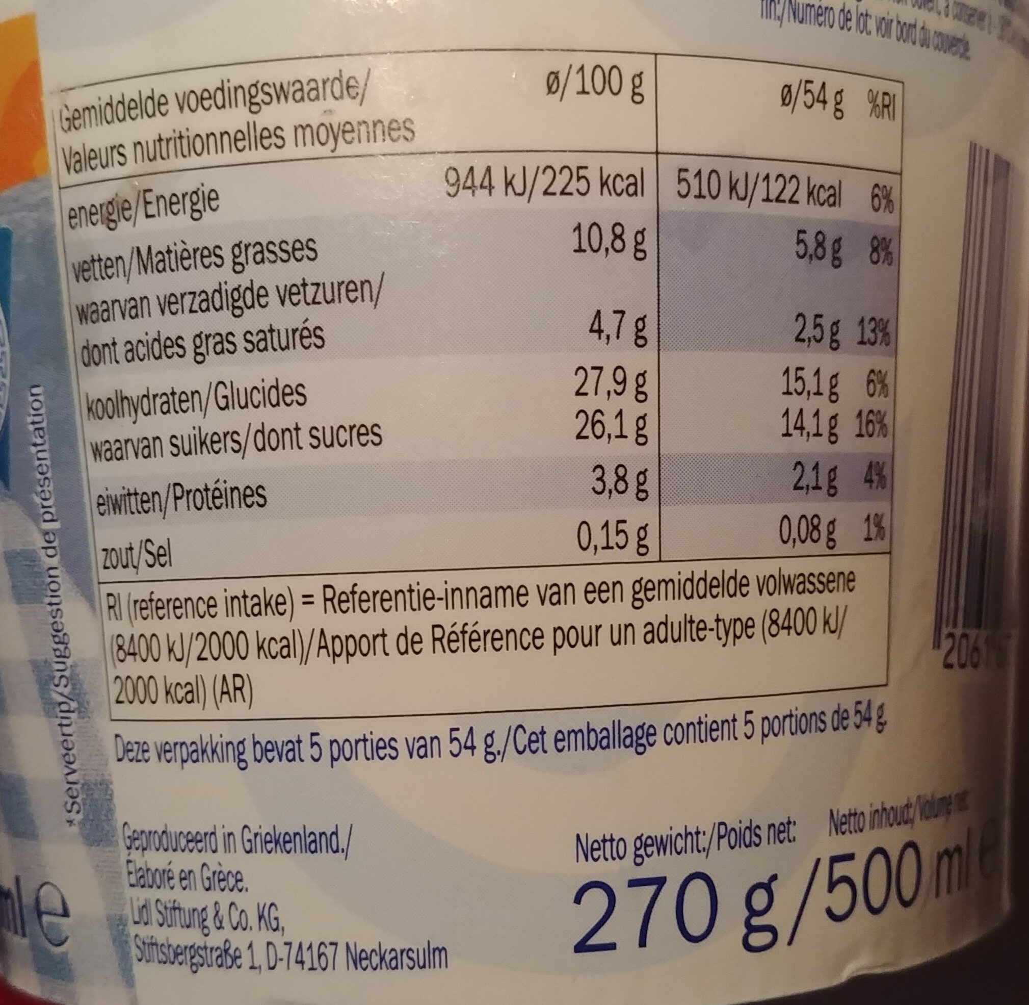 Yoghurteis - Nutrition facts