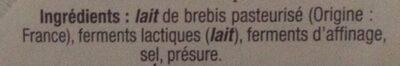 Pérail au lait de brebis - Ingrediënten - fr