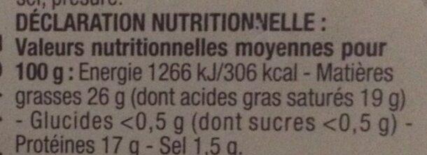 Pérail au lait de brebis - Voedingswaarden - fr