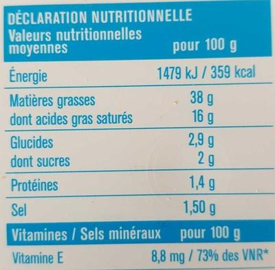 Léger (38% MG) demi-sel - Informations nutritionnelles - fr