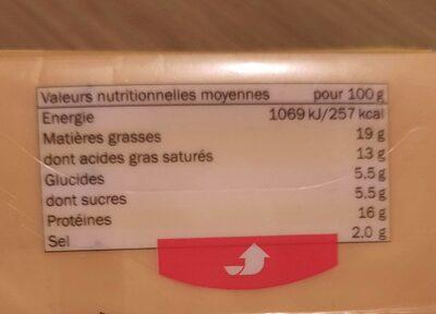 Fromage fondu pour hamburger - Informations nutritionnelles - fr
