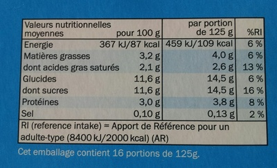 Yaourt nature sucré au sucre de canne - Nutrition facts