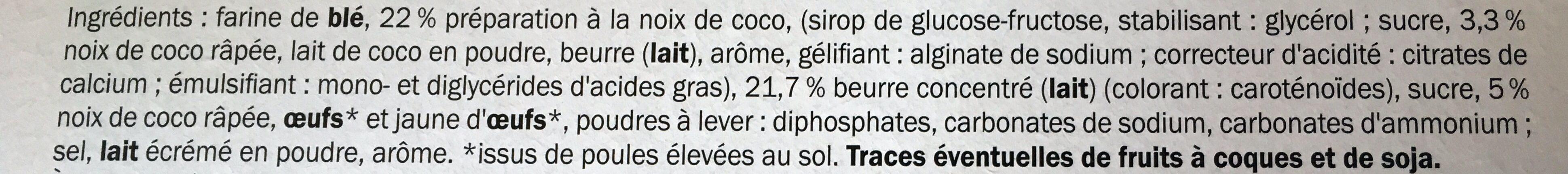 Les Sablés Pur Beurre Cœur Coco - Ingredients - fr