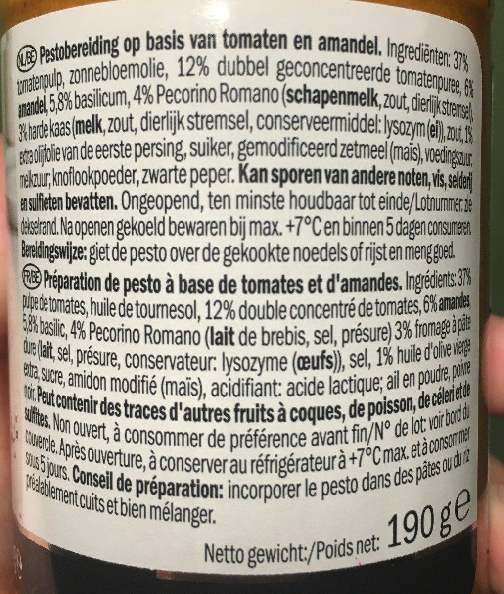 Tomaten-Mandel Pesto - Ingrédients - fr