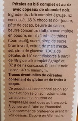 Spécial Flakes chocolat noir - Ingredients - fr