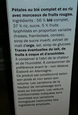 Pétales de Blé fruits rouges - Ingrediënten