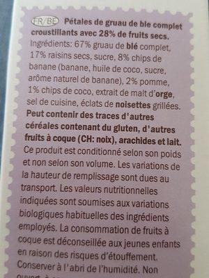 Flakes Fruit & Fibre - Ingredients