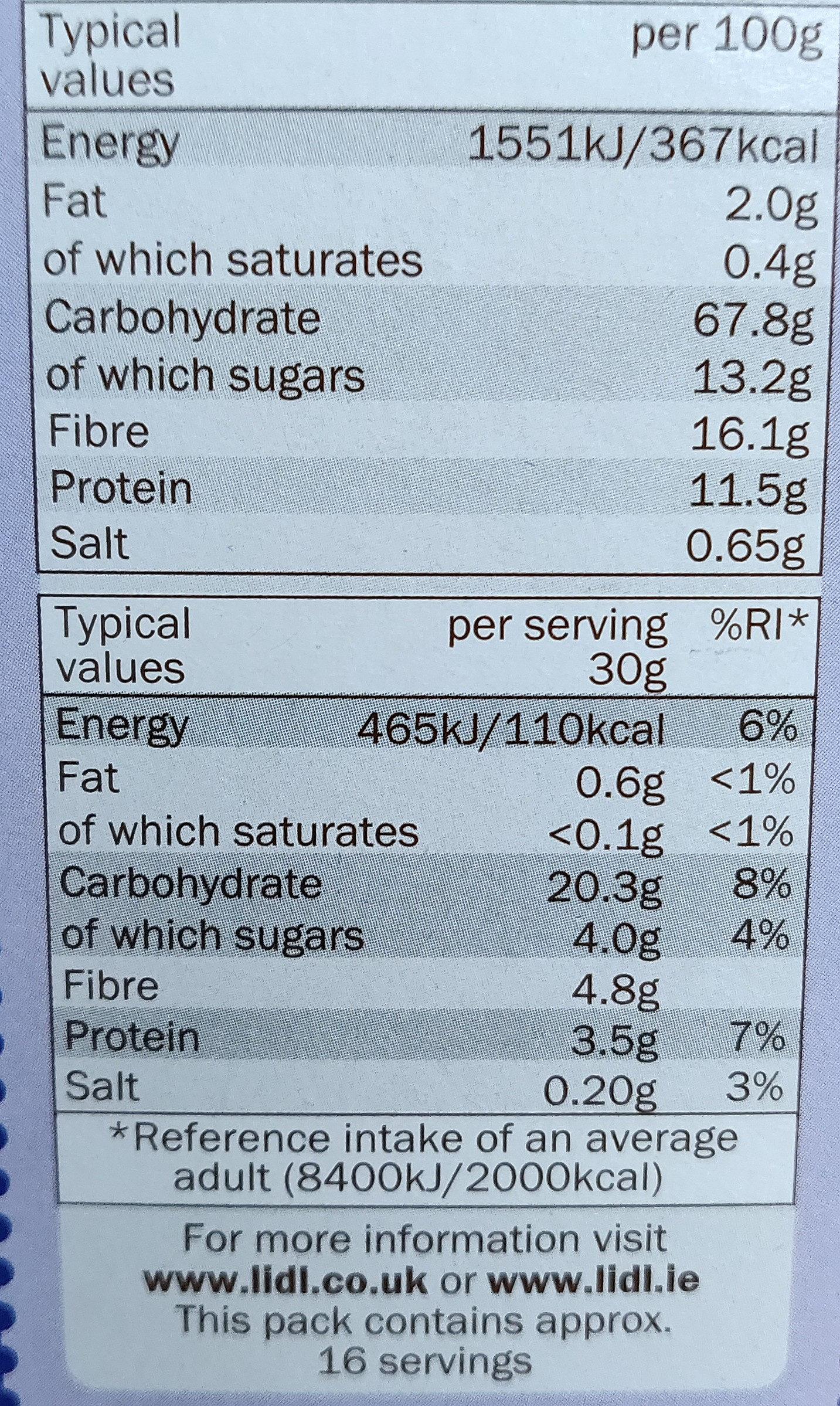 Bran flakes cereal - Nutrition facts - en