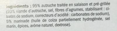 Wok d'Autruche pré-grillé mariné - Ingrédients - fr