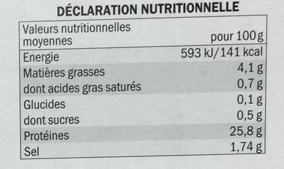 Wok d'Autruche pré-grillé mariné - Informations nutritionnelles - fr