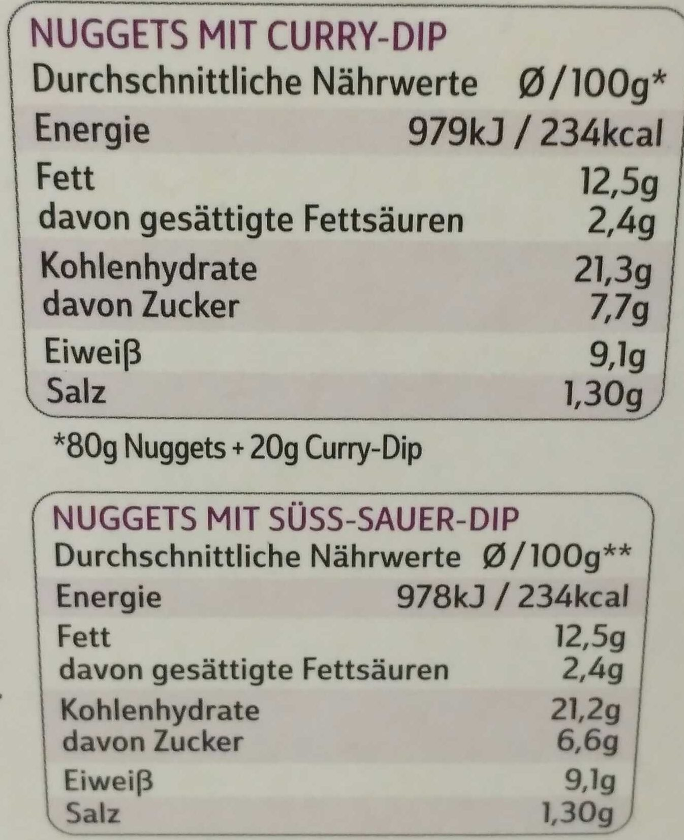 10 nuggets de poulet sauces curry & barbecue - Nährwertangaben - de