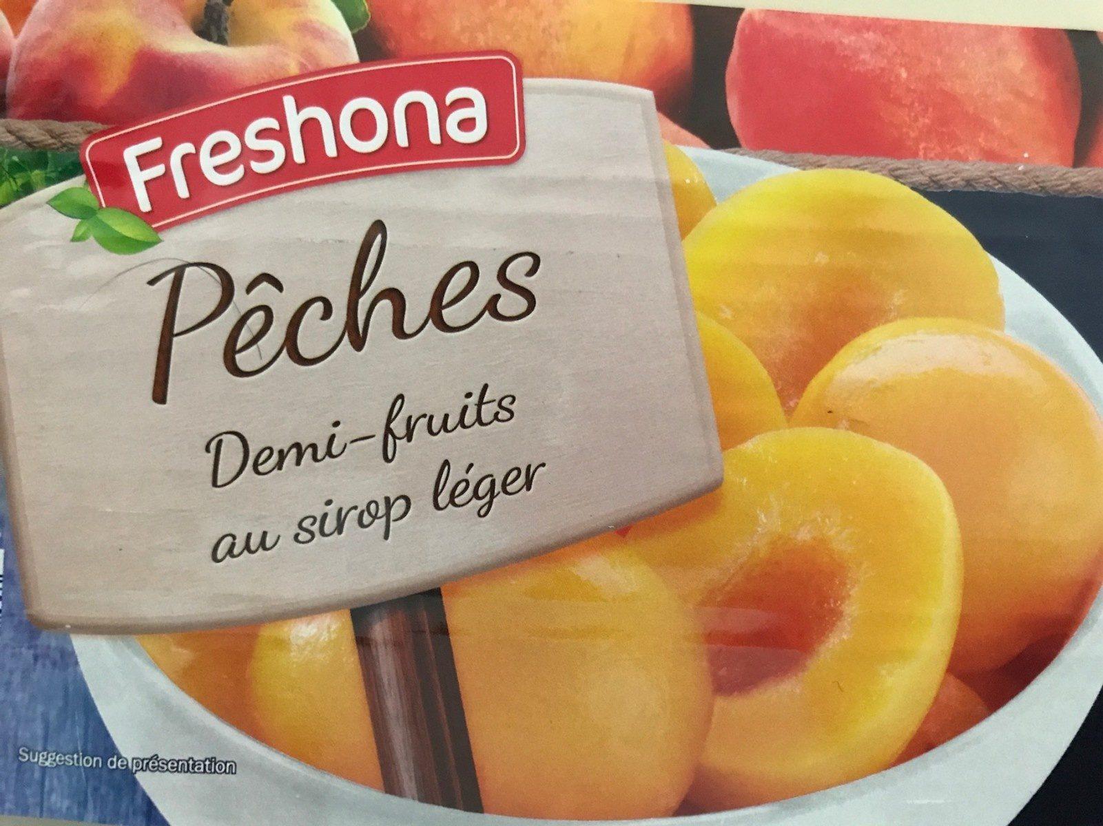 Pêches demi fruits au sirop léger - Produit - fr