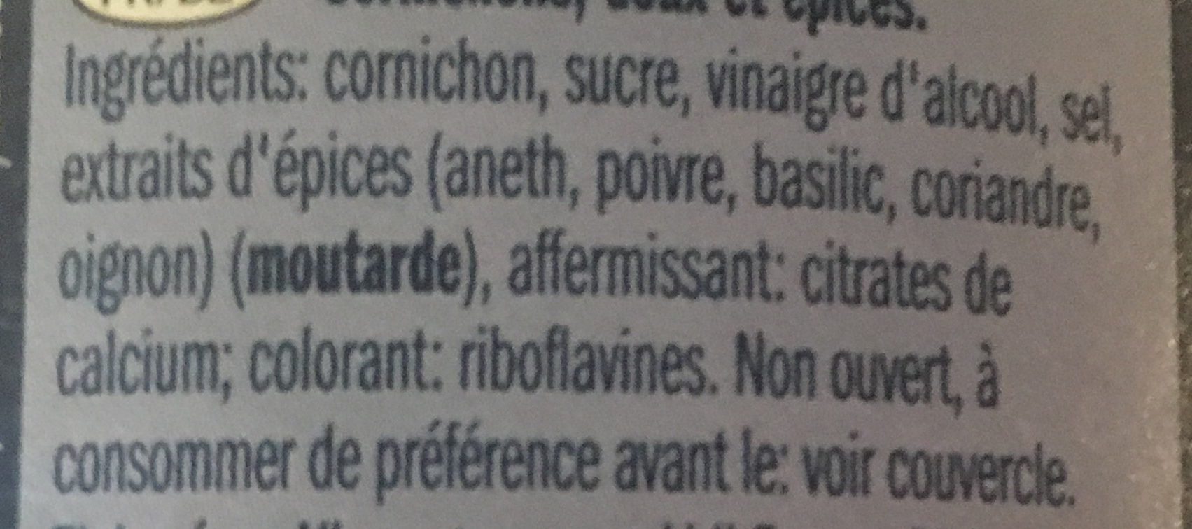 Cornichon - Ingrediënten - fr