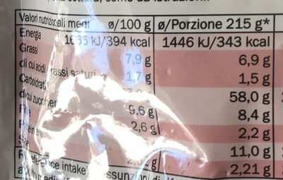 Reginelle carbonara - Información nutricional - it