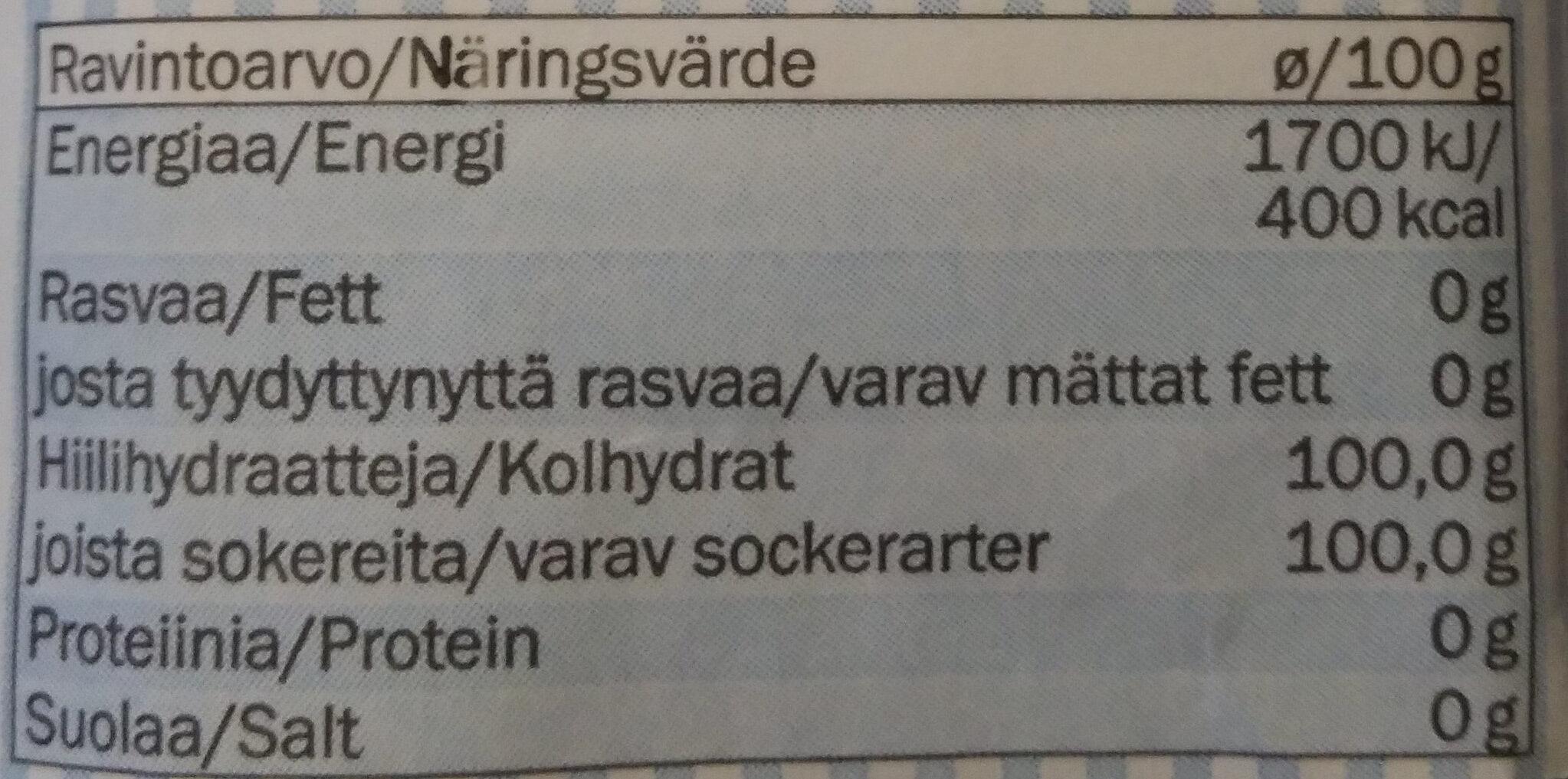 Zucker - Ravintosisältö - fi