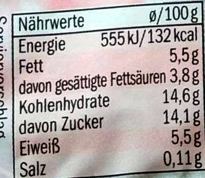 Quart Crème fraise - Informations nutritionnelles - de
