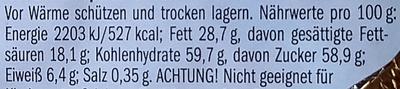 Edel-Vollmilchschokolade - Informations nutritionnelles