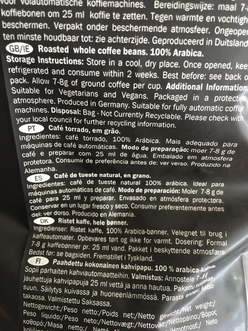 Café Espresso Extra Dark Roast - Ingrédients - es
