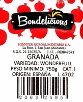 Granadas - Ingredients - es