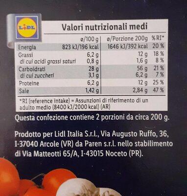 Pizza marinara - Nutrition facts - es