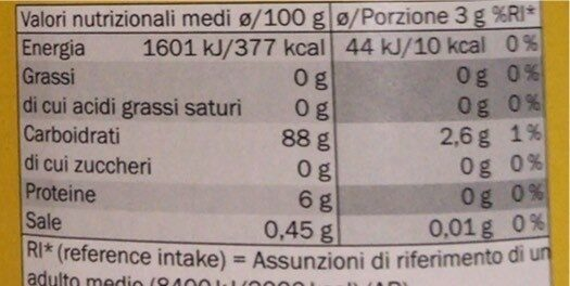 Orzo solubile - Informations nutritionnelles - fr