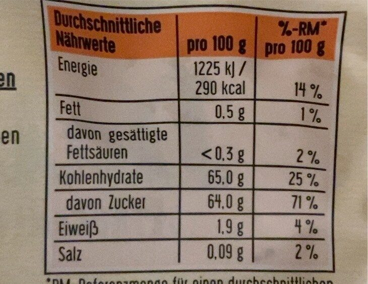 Datteln - Valori nutrizionali - en