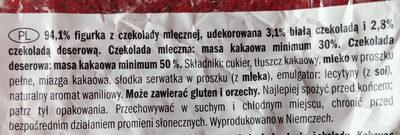 Figurka z czekolady mlecznej - Ingredients