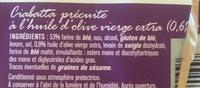 Ciabatta à finir de cuire - Ingrédients - fr