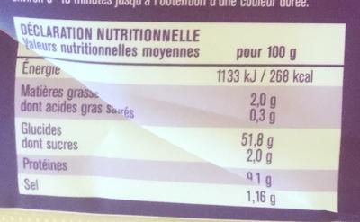 Ciabatta à finir de cuire - Informations nutritionnelles - fr
