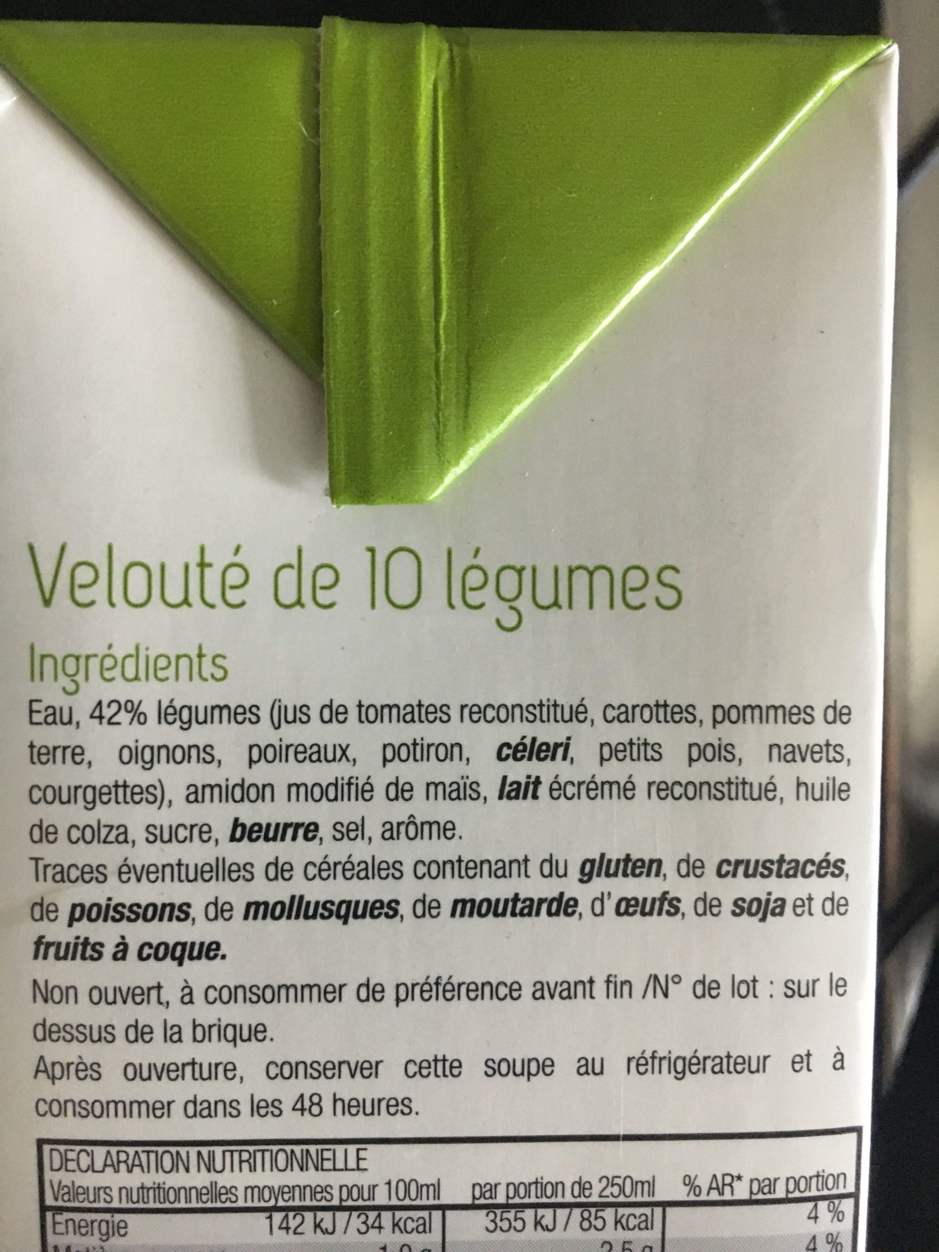Velouté de 10 légumes - Ingrédients