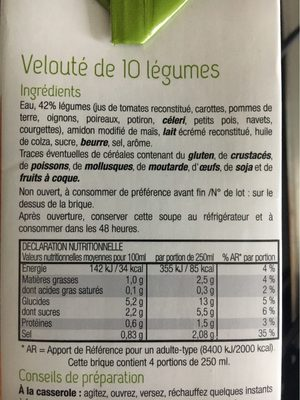 Velouté de 10 légumes - Informations nutritionnelles
