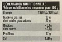 Le douxcrémeux - Informations nutritionnelles - fr
