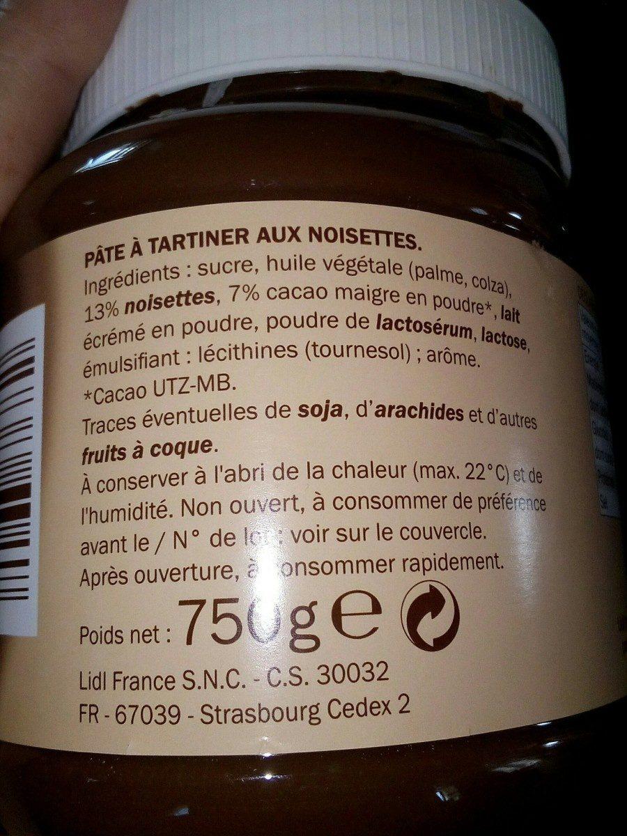 Pâte à tartiner au noisettes - Ingrédients - fr