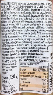 Poulet Emmental Mayonnaise allégée - Informations nutritionnelles - fr