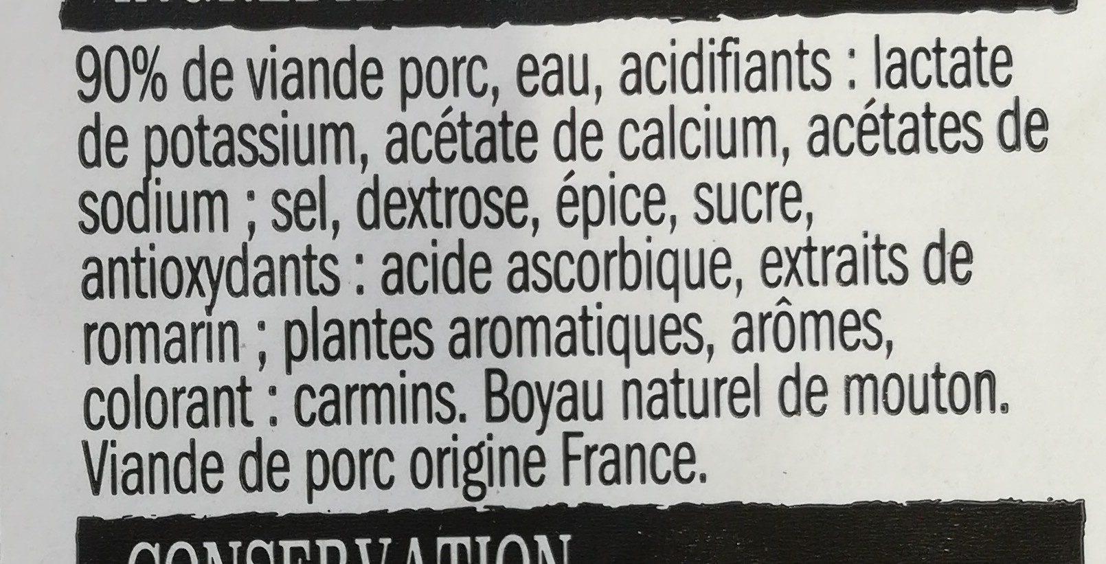 Chipolatas Supérieures - Ingredients - fr