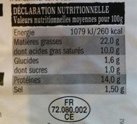 Chipolatas Supérieures - Nutrition facts - fr